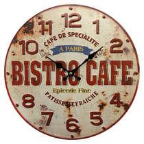 Relógio em Metal com alto relevo - Bistro Café - 40 cm de Diâmetro