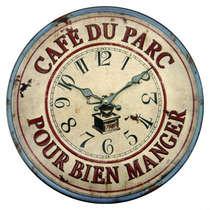 Relógio em Metal com alto relevo - Cafe Du Parc - 40 cm de Diâmetro