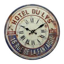 Relógio em Metal com alto relevo - Hotel Du Lys - 40 cm de Diâmetro