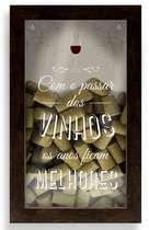 Quadro porta-rolhas de garrafas de vinhos - Com o passar dos vinhos