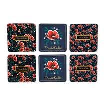 Conjunto Porta Copos Frida Kahlo - Flowes - Fundo Preto - 6 peças