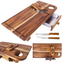 Tábua para Churrasco de Madeira - Mestre Churrasqueiro - Stylo - Brinde garfo e faca