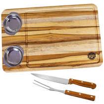 Tábua para carnes c/ faca, garfo e petisqueiras- Coisas de Boteco