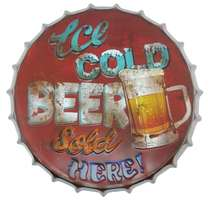 Tampa Decorativa Metal 40 cm - Ice Cold Beer