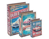 Jogo de Caixas Decorativas Livro Retrô - My Garage 3 Peças