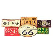 Placa MDF - City Route US 66 Oval