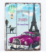 Placa madeira Welcome to Paris - 40 x 30 cm