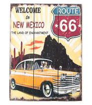 Placa madeira Route 66 New Mexico - 40 x 30 cm