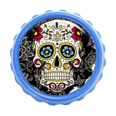 Abridor de garrafa com imã - Caveira Mexicana - Azul