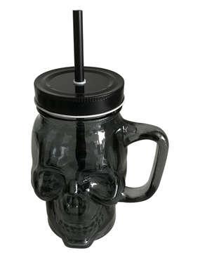Copo caveira pote de vidro com canudo - Black