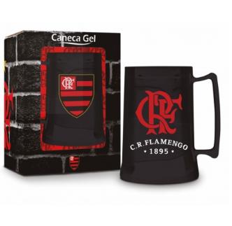 Caneca Cerveja Gel Congelante - Flamengo 450ml - Oficial - Preta