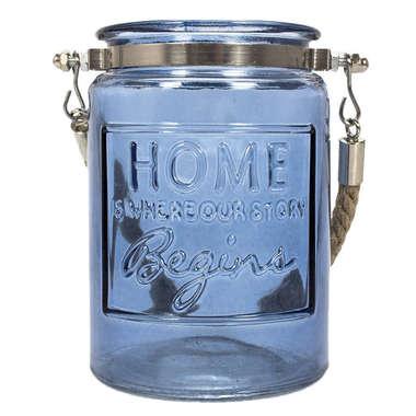 Castiçal vidro azul c/ alça Home 13 x 9,6 cm