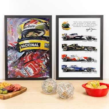 Kit Especial - Quadros Ayrton Senna em Cores + A Lenda - 45 x 33 cm