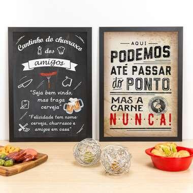 Kit Especial - Quadros Cantinho dos Amigos + Passar do Ponto - 45 x 33 cm