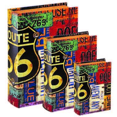 Jogo de Caixas Decorativas Livro Retrô - Route 66 3 Peças
