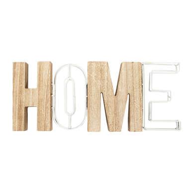 Palavra Decorativa Metal Madeira (Home) 15,3 x 2,6 x 39 cm