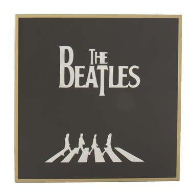 Espelho Decorativo - The Beatles - Moldura dourada - Fundo preto