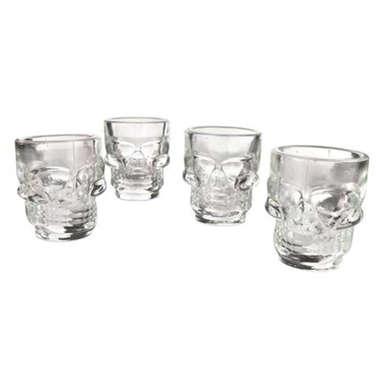 Conj. Shot Caveira Vidro Transparente - 4 unid - 42 ml