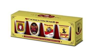 Jogo 4 copos p/ dose -  Humor - 60 ml