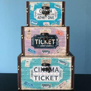 Jogo de Baús Decorativos Retrô - Cinema Ticket 3 Peças