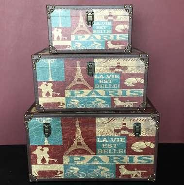 Jogo de Baús Decorativos Retrô - Paris 3 Peças