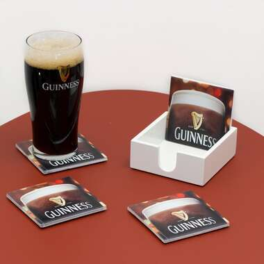 Kit 4 Porta Copos de Azulejos - Guinness - Suporte Laqueado (Brinde)