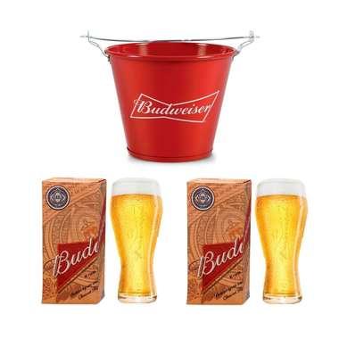 Kit Balde Budweiser + 2 copos Budweiser