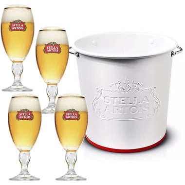 Kit Balde Stella Artois + 4 copos Stella Artois