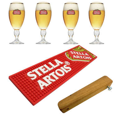 Kit Bar Mat / Apoio Stella Artois + 4 Copos Stella Artois + Abridor