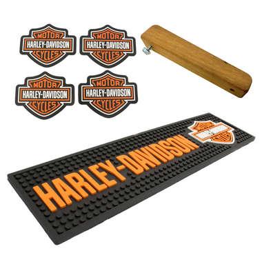 Kit Bar Mat / Harley Davidson + 4 Porta Copos Harley Davidson + Abridor