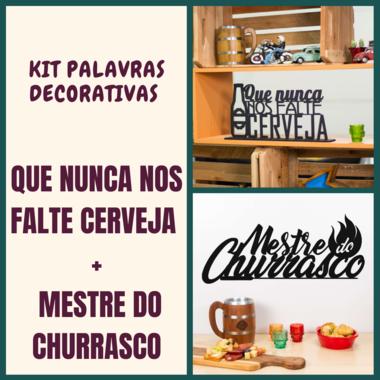 Kit Especial Palavras Decorativas - Nunca nos falte cerveja + Mestre do Churrasco