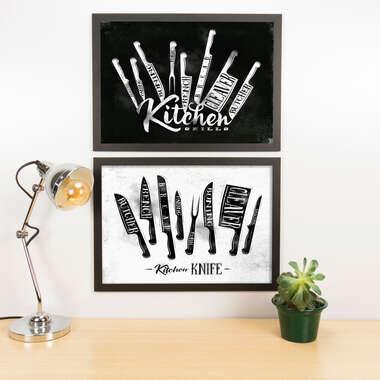 Kit Especial Quadros Decorativos - Kitchen Knife  - 45x33 cm