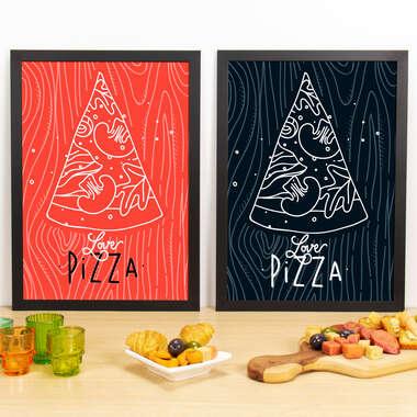 Kit Especial Quadros Decorativos - Love Pizza - 45x33 cm (Vermelho e Preto)