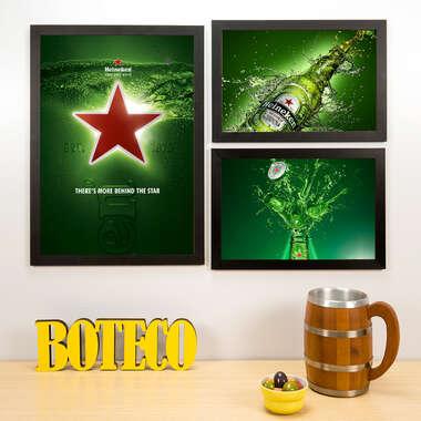 Kit Especial - 3 Quadros Heineken - 45x33 e 33x22 cm
