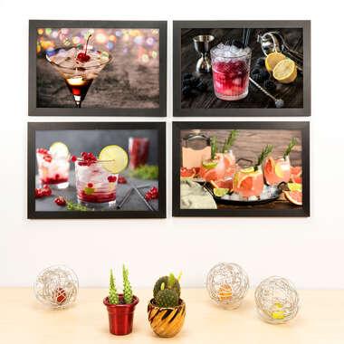 Kit Especial - 4 Quadros Decorativos Pink & Orange - 33x22 cm