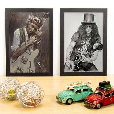 Kit Especial - Quadros Keith Richards + Slash - 33x22 cm