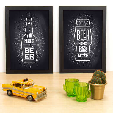 Kit Especial - Quadros All you need is beer + Beer makes everything better - Preto - 33x23 cm