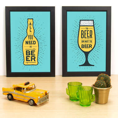 Kit Especial - Quadros All you need is beer +  To be or not to be - Verde - 33x23 cm