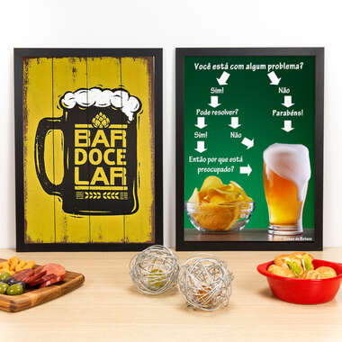 Kit Especial - Quadros Bar Doce Bar + Algum Problema? - 45x33 cm
