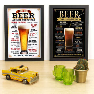 Kit Especial - Quadros How To Order a Beer Around The World + Beer Styles Around The World- 33x22 cm