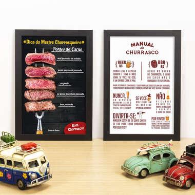 Kit Especial - Quadros Pontos da Carne + Manual do Churrasco - 33x22 cm
