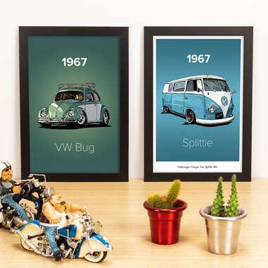 Kit Especial - Quadros VW Bug 1967 + Kombi 1967- 33x22 cm