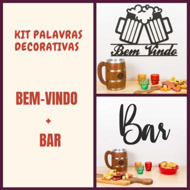 Kit Palavras Decorativa para Parede - Bem-vindo + Bar