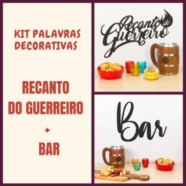 Kit Palavras Decorativa para Parede - Recanto do Guerreiro + Bar