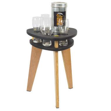 Mesa petisqueira de madeira - Preto / Amarelo