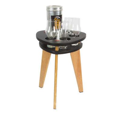 Mesa petisqueira de madeira - Preto / Vermelho
