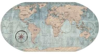 Mural Vintage Mapa Mundi Vintage - 43 x 85 cm