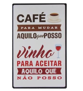Placa Decorativa MDF Café e Vinho - 19x29 cm