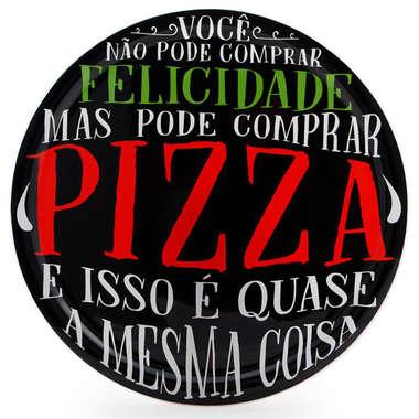 Prato de Pizza Preto - 40 cm