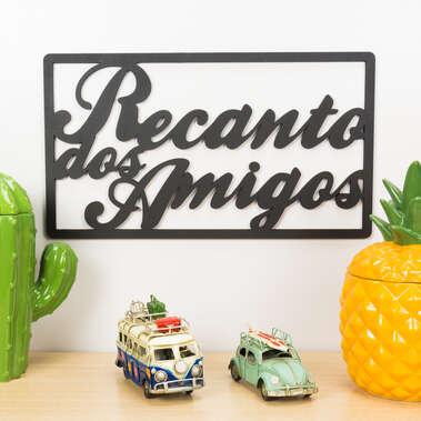 Palavra Decorativa para Parede - Recanto dos Amigos - 25 cm x 45 cm x 3 mm
